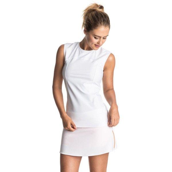 Roxy Roxy & Courr?ges Cap Sleeve Rashguard ($50) ❤ liked on Polyvore featuring swimwear, white, sport swimwear, roxy swimwear, white swimwear, sports swimwear and rash guard swimwear