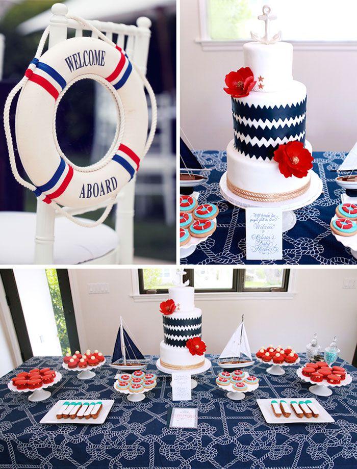 Nautical Baby Shower with So Many Really Cute Ideas via Kara's Party Ideas KarasPartyIdeas.com #nauticalbirthdayparty #sailingparty #ahoyits...