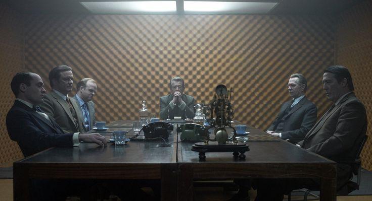 Colin Firth, Gary Oldman, John Hurt, Ciarán Hinds, Toby Jones, and David Dencik in Tinker Tailor Soldier Spy, 2011