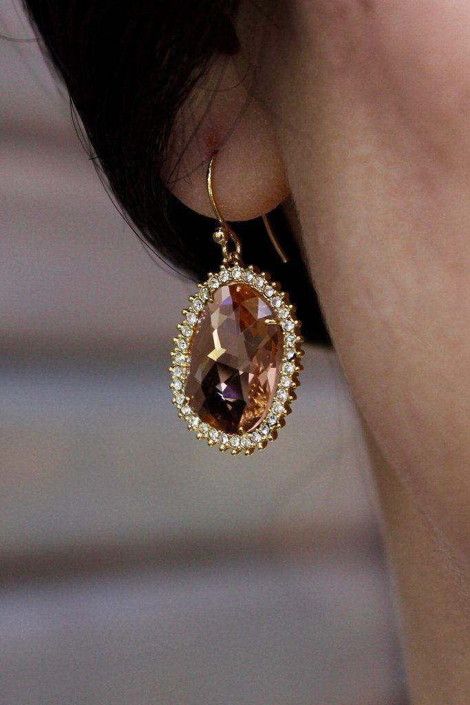 ANNABELLA EARRINGS, gold earrings, crystal earrings, bridal jewelry, bridal earrings, wedding jewelry, wedding earrings from batelboutique.com