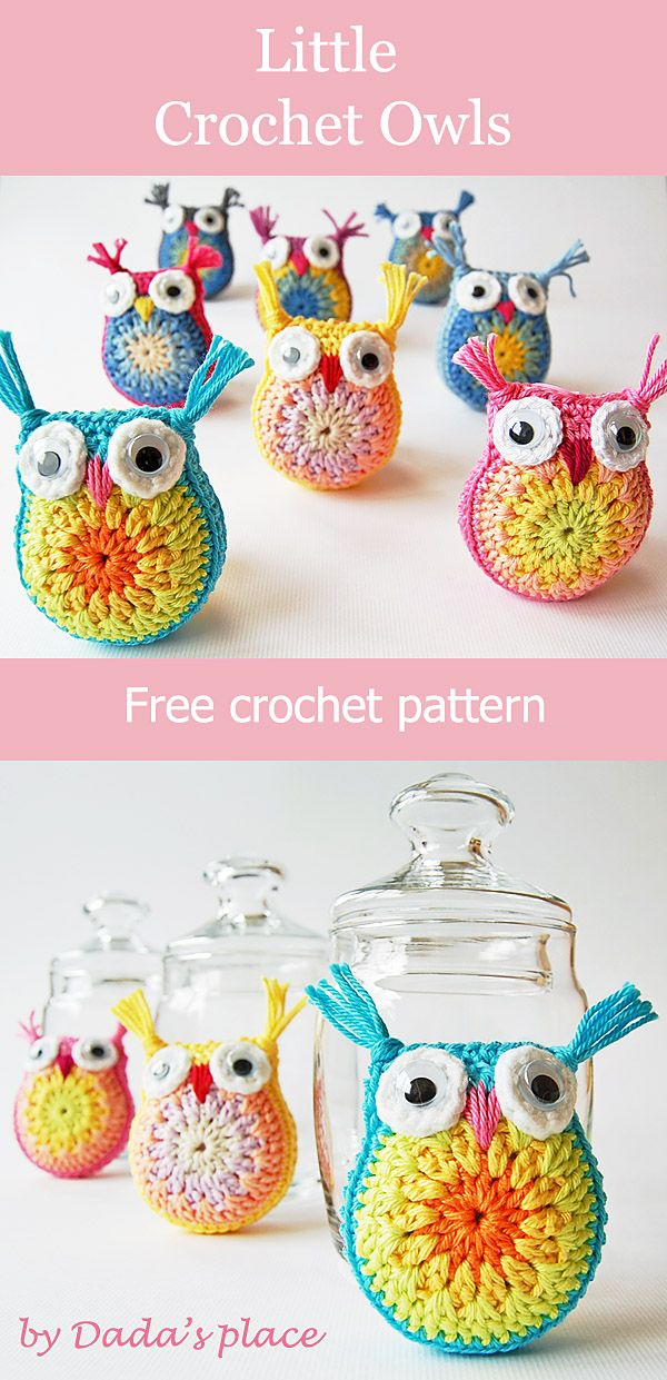Adorable little crochet amigurumi owls made by Dada\'s place, link to ...