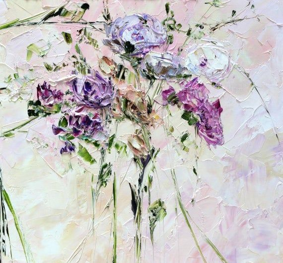 Wall Art Work Large Oil Painting Print Giclee Dusky Pink Violet Purple Peach White Flowers Peony Roses Asters Colorful Bouquet Palette Knife