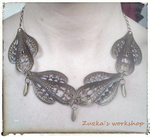 "\""Art Noveau Bronze\"" náhrdelník"