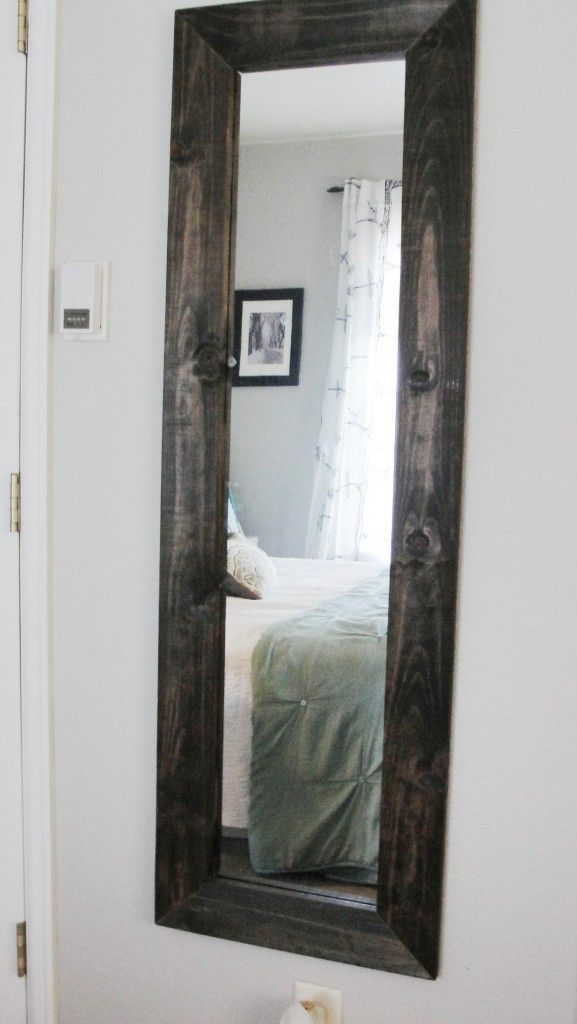 Diy mirror frame a cheap mirror and paint yellow for our bedroom with really big trim Cheap wood paint