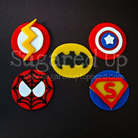 Superhero Fondant Cupcake Toppers  These cupcake toppers are perfect for the aspiring superhero in your life.  Sure to be the hit of your next event.       Includes 12 fondant toppers, an assortment of all shown ($20)  Toppers measure approximately 2.5 inches across, perfect for standard sized cupcakes.   Colors are fully customizable!
