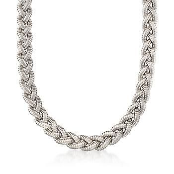 "Keep it casual but stay sophisticated. Here, textured and polished sterling silver weaves into a beautifully braided necklace. Made in Italy. 1/2"" wide. Lobster clasp, sterling silver braided necklace. Free shipping & easy 30-day returns. Fabulous jewelry. Great prices. Since 1952."