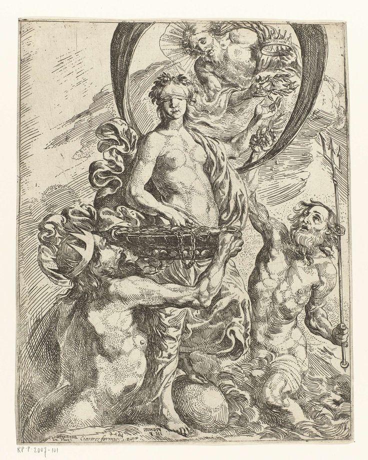 Pierre Brebiette | Fortuna gekroond door Jupiter, met Pluto en Neptunus, Pierre Brebiette, Claude Vignon, 1624 | Jupiter biedt de geblinddoekte Fortuna een kroon en een lauwerkrans aan, Pluto houdt een grote, gevulde  schaal voor haar op met munten en kettingen en Neptunus biedt haar parels en koraal aan.