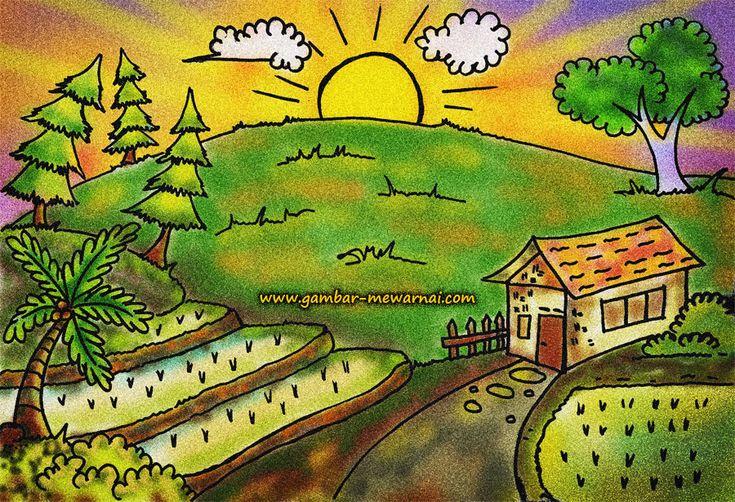 Contoh Mewarnai Gambar Pemandangan | Pemandangan, Seni ...