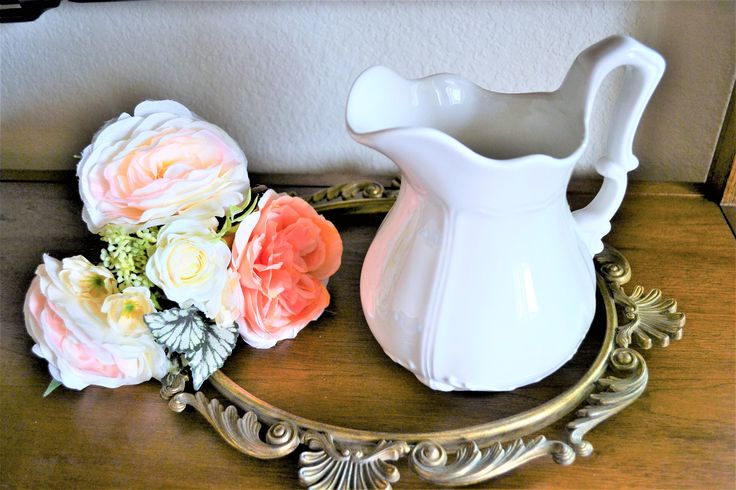 White Pitcher | Vintage Rosie Pitcher | Shabby Chic | Farmhouse Decor | Farmhouse Pitcher | Ornate Pitcher | Wedding Decor | Gift for Her by ChalksOLot on Etsy