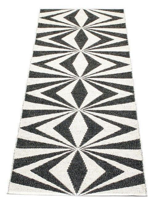 Pappelina Rug Carpet Mira Black Vanilla Plastmatta