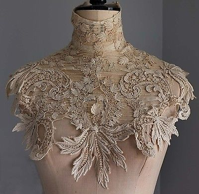 Antique/vintage Edwardian guipure lace collar / dress yoke in Antiques, Fabric/ Textiles, Lace/ Crochet/ Doilies | eBay