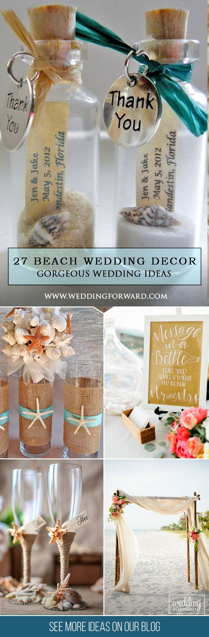 Gorgeous Beach Wedding Decoration Ideas ❤ Beach weddings don't require many decorations, therefore you can make DIY decorations. We propose decor ideas for guests book, centerpieces, beach signs, aisles and arches. See more: http://www.weddingforward.com/beach-wedding-decoration-ideas/ #wedding #beach #decor