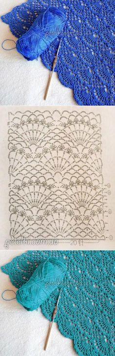 conchas céu aberto crochê.  padrão de esquema de tricô