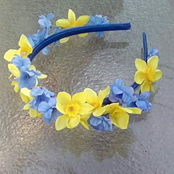 Spring Daffodils and Blue Flower Crown, Blue and Yellow Flower Headband, Daffodils Floral Crown, Spring Wedding, Yellow Daffodil Headpiece