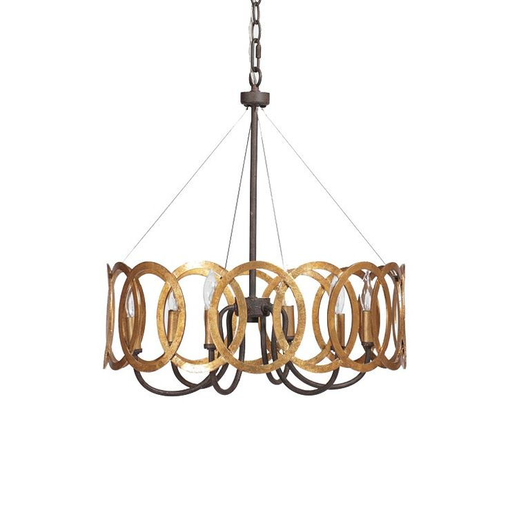 Stunning antique gold circles interlock to surround black iron curved fixtures to create this sophisticated, transitional chandelier.  Materials: Iron/Metal Finish: Black Iron & Antique Gold
