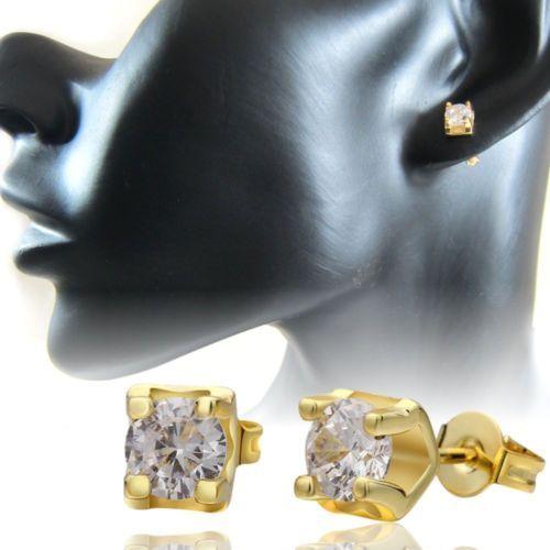 2-Ohrstecker-Zirkonia-Gold-plattiert-18K-vergoldet-Damen-Herren-Strass-Ohrringe