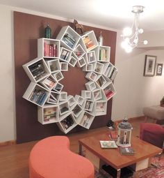 DIY Mandala Pattern Bookshelf- not sure if I would make this a main attraction but its so cool! Could make any design