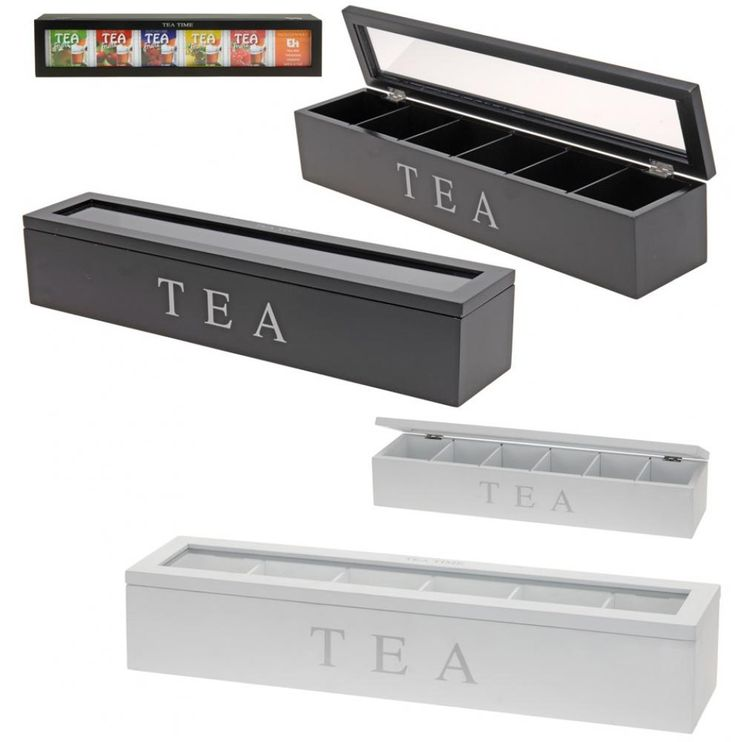 Rectangular Plain Wooden Storage Box Tea Bag Chest Caddy Clear Lid 6 Compartment | eBay