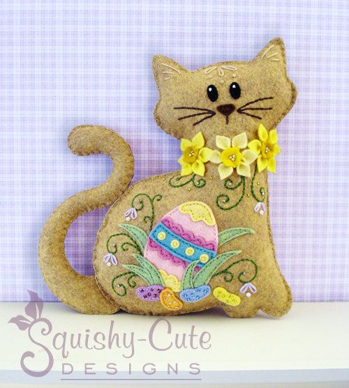 Cat Stuffed Animal Pattern - Felt Plushie Sewing Pattern & Tutorial - Jelly Bean the Easter Cat - Embroidery Pattern PDF