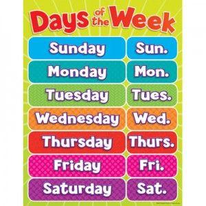 dias da semana em ingles estude