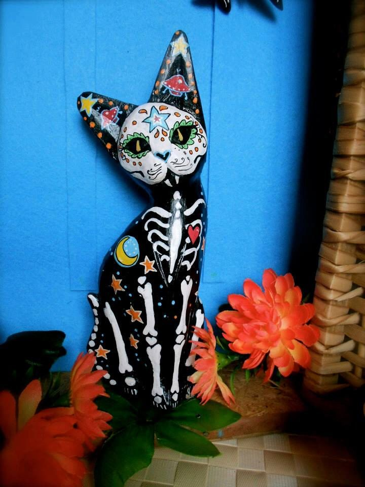 Sugar Skull Cat Day of the Dead Space Cat by DonaZarzanga on Etsy https://www.etsy.com/listing/248844162/sugar-skull-cat-day-of-the-dead-space