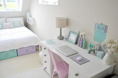 Love the colour palette for this room. Would also make a nice colour palette for a baby girl's nursery
