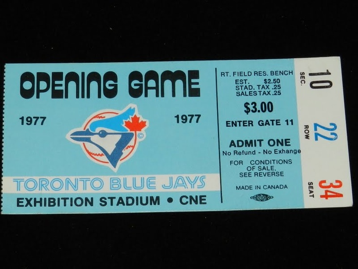 A TICKET-STUB FROM THE FIRST-EVER BLUE JAYS GAME