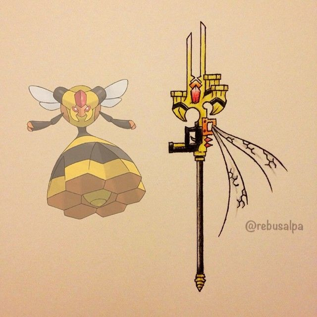 Instagram media by rebusalpa - Pokeapon No. 416 - Vespiquen. #pokemon #vespiquen #gunstaff #pokeapon