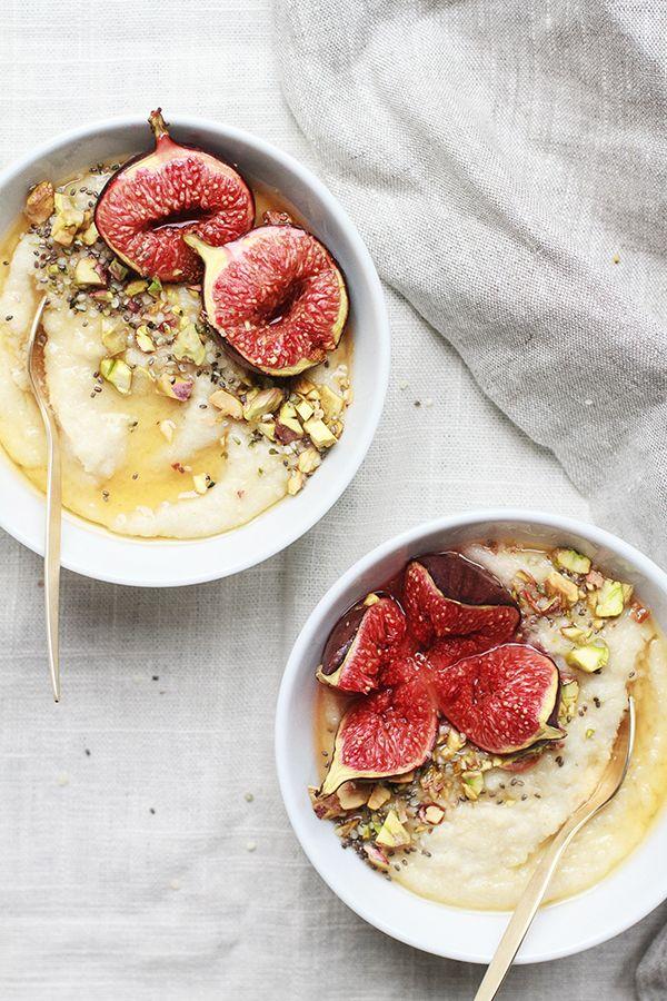 Roasted fig & honey millet porridge.
