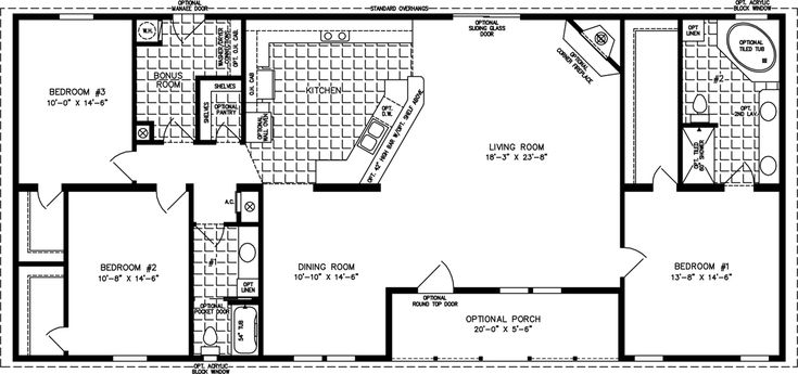2000 sq ft floor plans the tnr 46816w manufactured for Best 2000 sq ft home design
