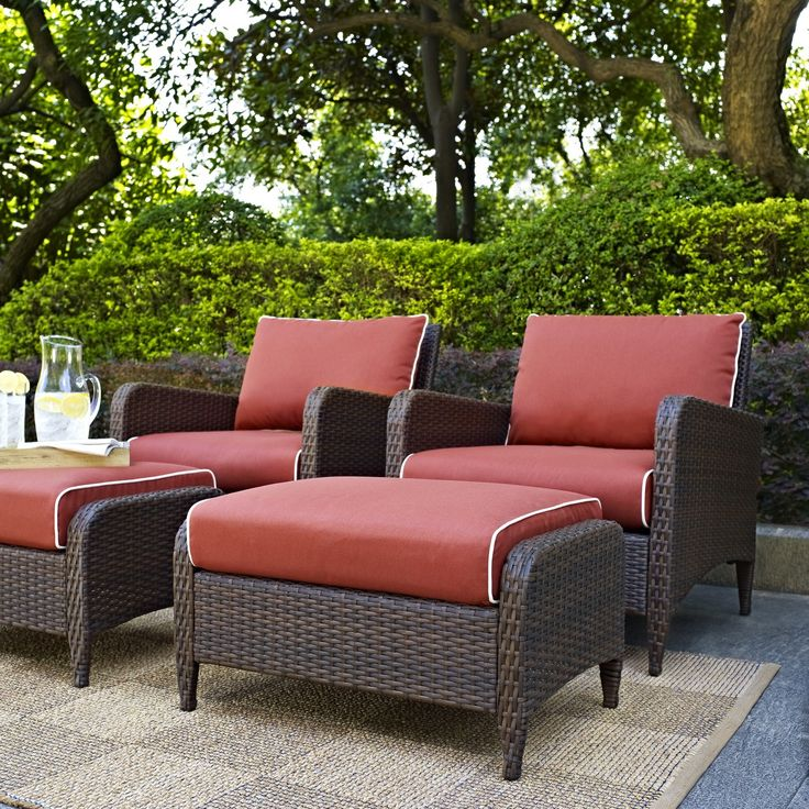 Kiawah Outdoor 4PC Wicker Seating Set With Sangria Cushions By Crosley