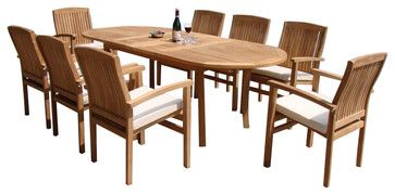 7-Piece Dining Set With Double Extension Oval Table and 6 Wave Stacking Arm Chai contemporary-outdoor-dining-sets