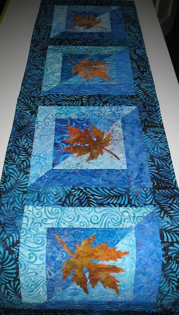 Batik Table Runner Leaves Lique Aqua Blue Batiks Quilted Handmade Dresser Scarf