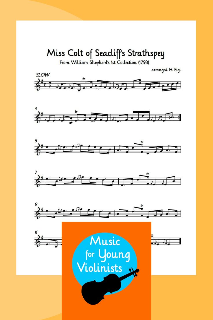 FREE Violin Sheet Music | PDF Downloads: Miss Colt of Seacliff's Strathspey, a slow, moody piece ripe for creative interpretation. Download this and more free at Music for Young Violinists.