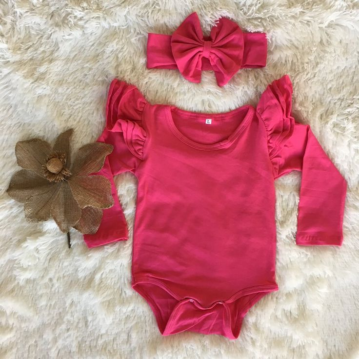 Long Sleeve Flutter Bodysuit   headwrap - Watermelon