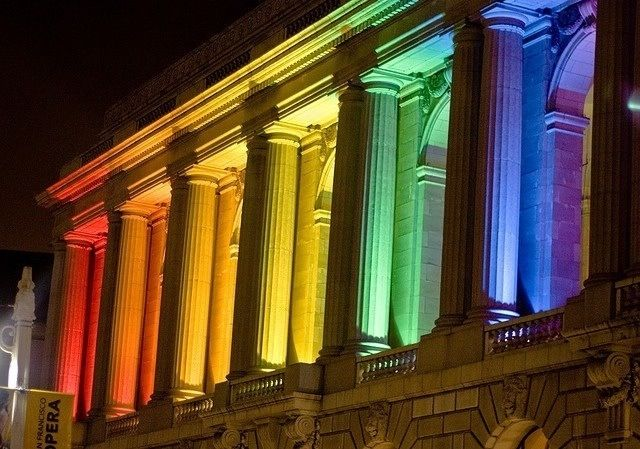 aestheticgoddess: SF Opera house at night with rainbow lights by photomato on Flickr.