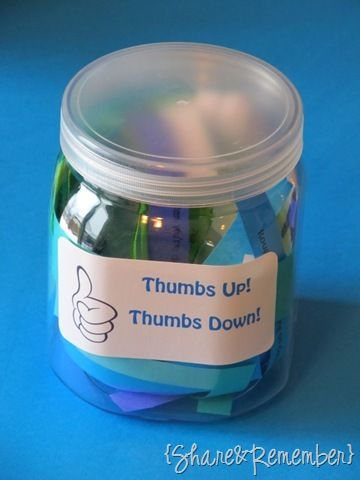 """Thumbs Up! Thumbs Down! Jar Each child drew a slip of paper and then we decided """"thumbs up"""" or """"thumbs down"""".  I'm trying to reinforce good manners, the rules, and using better words, etc."""