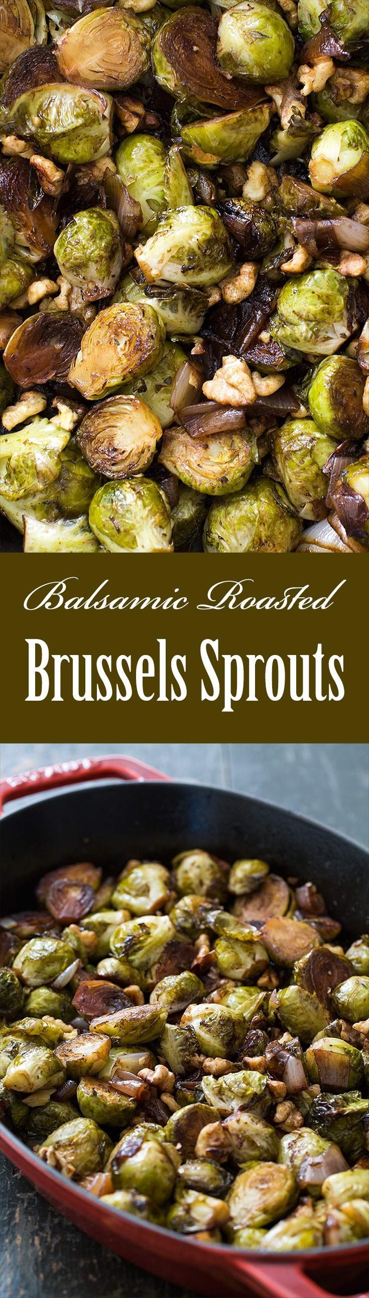 Easy! Brussels Sprouts roasted with shallots, tossed with balsamic vinegar and toasted walnuts. #vegan #Thanksgiving On http://SimplyRecipes.com