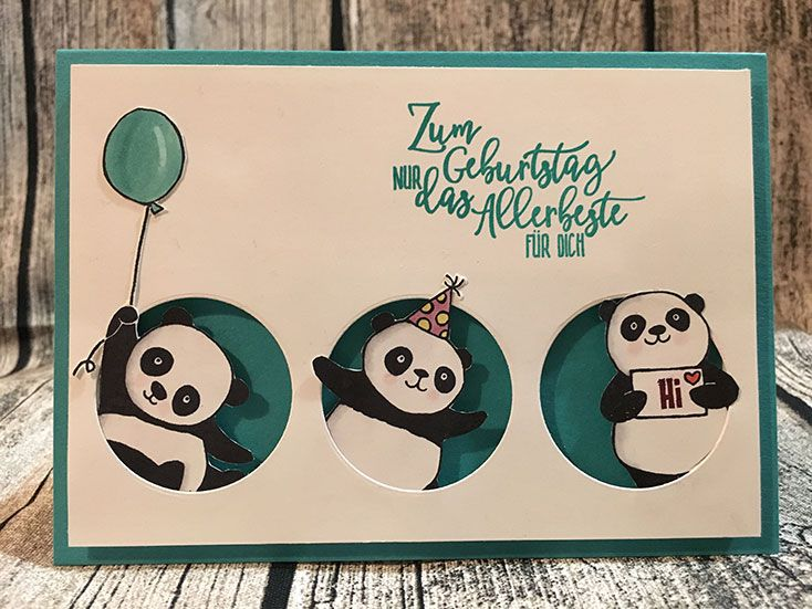 all three pandas from the stamp set party pandas