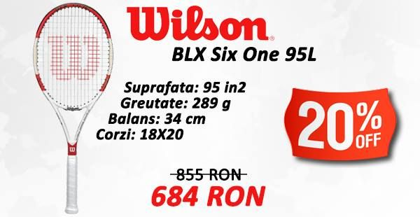 Racheta Wilson BLX Six One 95L cu 20% DISCOUNT! http://www.tenisshop.ro/Tenis-De-Camp/Rachete-Tenis/Racheta-Tenis-Wilson-Blx-Six(dot)one-95-Lite-18x20.html