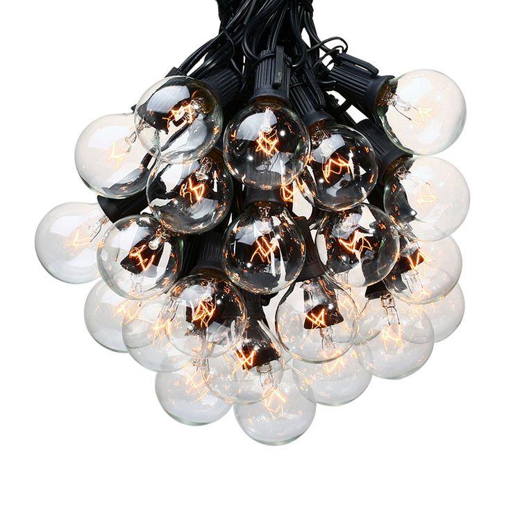 25Ft G40 Ampoule Globe Chaîne Lumières avec Clear Ampoules Jardin Patio Lumières, Vintage Ampoules, décoratif En Plein Air Guirlande De Mariage