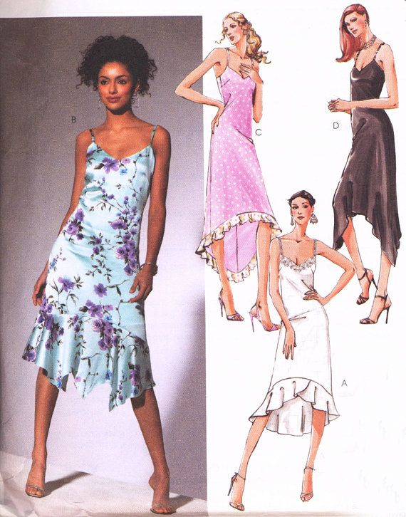 McCalls Sewing Pattern M4445 – Sewing Pattern Womens Slip Dress Mermaid Hem, McCalls 4445 Prom Dress, Formal Dress Short and Long Size 4 6 8 10, Out of Print, Uncut $11.95