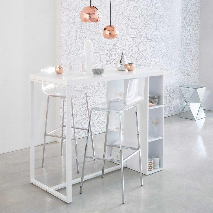 Tavolo Alto Bianco Satinato Per Sala Da Pranzo In Legno L ...