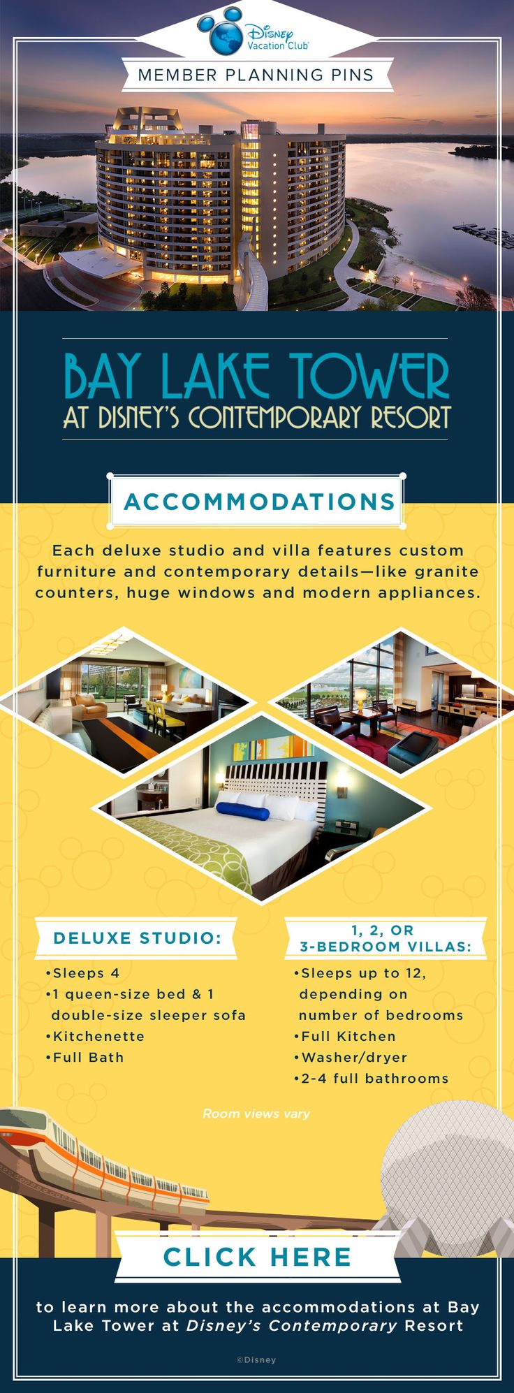 Plan your next Disney Vacation Club vacation to Bay Lake Tower at Disney's Contemporary Resort with our helpful Member Planning Pin showing an overview of what's available at the Resort! Did you know that there are Deluxe Studios and 1, 2 or 3 bedroom villas available at this Resort? Click to learn more!