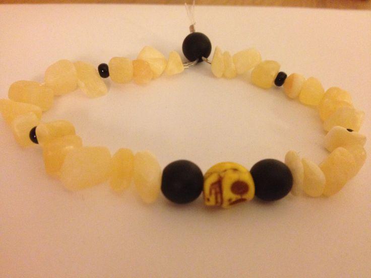Bracelet with skull in the colour lemon-liqorice