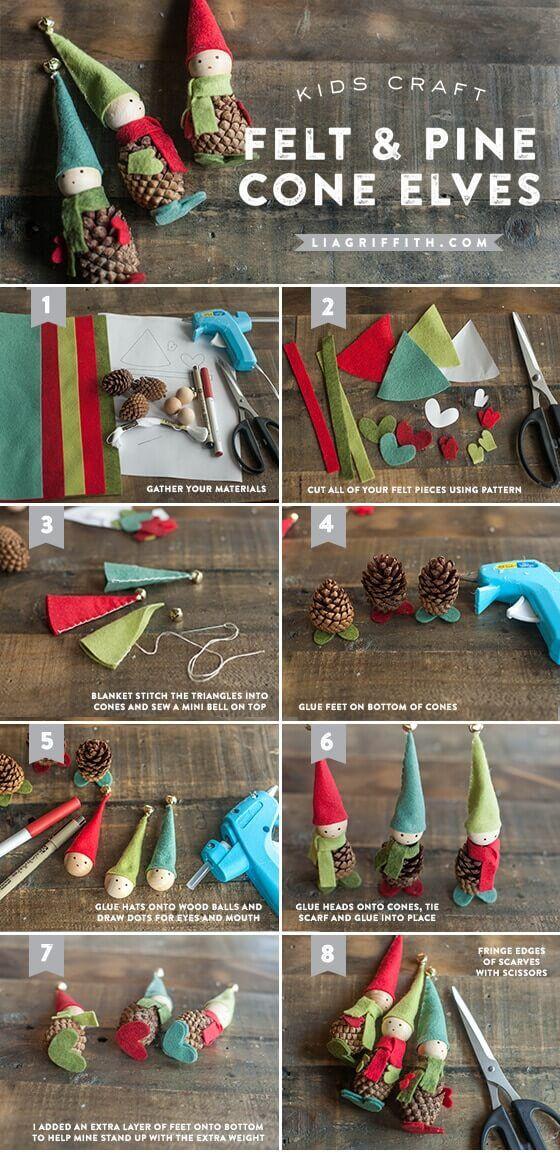 DIY Weihnachtsdeko Bastelideen mit Tannenzapfen-Weihnachtselfen basteln mit Kindern