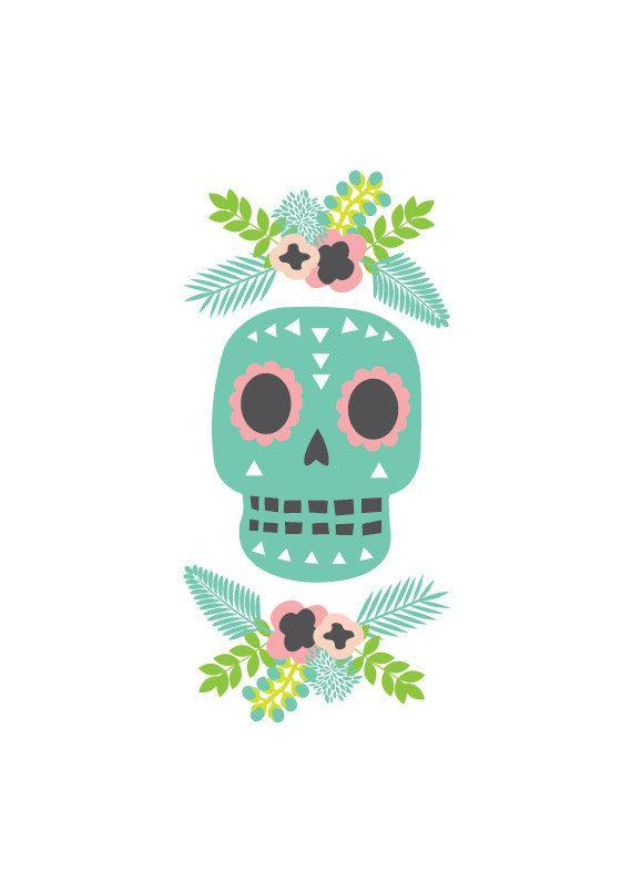 Skull Art Print. Illustration. Day Of The Dead. 4 by HelloPants