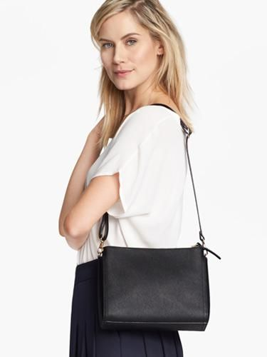 be2f1c72a15 On Model Shoulder - The Pearl - Saffiano Leather - Black   Gold   Grey -  Crossbody - Lo   Sons