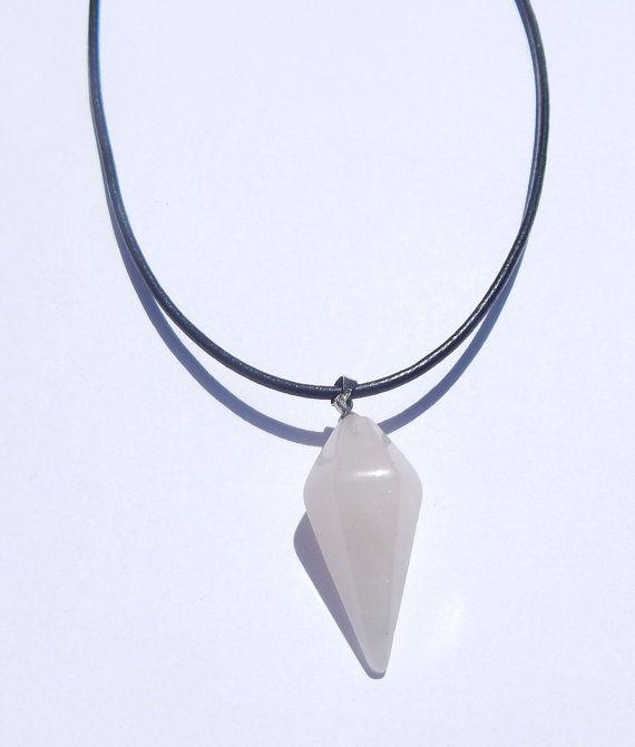 Rose Quartz Pendulum Necklace Rose Quartz by VetroJewelryDesigns