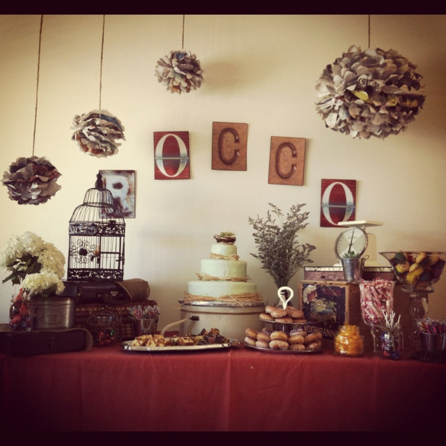 Rustic-Vintage Baby Shower - Cake Table